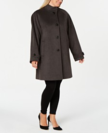 Jones New York Plus Size Stand-Collar Coat