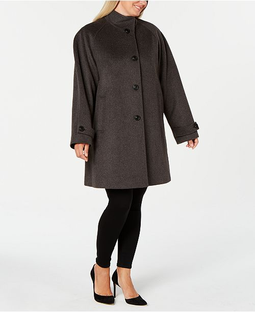 Jones New York Plus Size Stand-Collar Coat