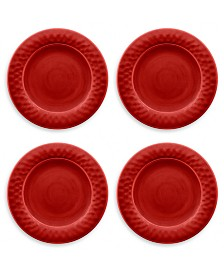 Tarhong Crackle Glaze Red Dinner Plate, Set of 4