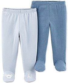 Baby Boys 2-Pack Footed Cotton Pants