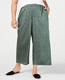 Plus Size Cropped Wide-Leg Pants