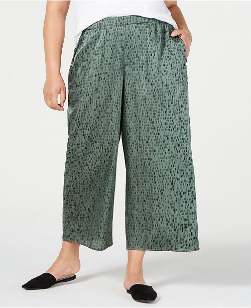 Eileen Fisher Plus Size Cropped Wide-Leg Pants