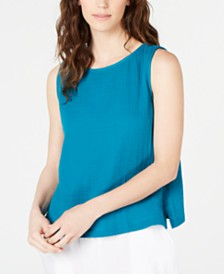 Eileen Fisher Organic Cotton Sleeveless Boat-Neck Top