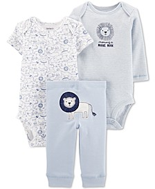 Baby Boys 3-Pc. Lion Graphic Cotton Bodysuits & Pants Set