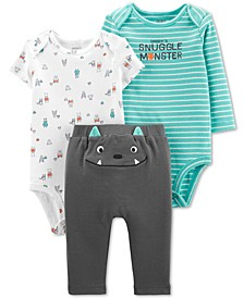 Baby Boys 2-Pc. Monster Graphic Cotton Bodysuits & Pants Set