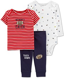 Baby Boys 3-Pc. Football Cotton T-Shirt, Bodysuit & Pants Set