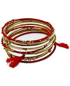 GUESS Gold-Tone 9-Pc. Set Crystal & Bead Thread-Wrapped Bangle Bracelets