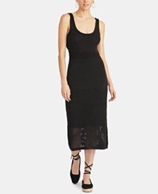 RACHEL Rachel Roy Aurora Tie-Back Mesh Sweater Dress