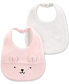 Baby Girls 2-Pack Bear Bibs