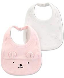 Carter's Baby Girls 2-Pack Bear Bibs