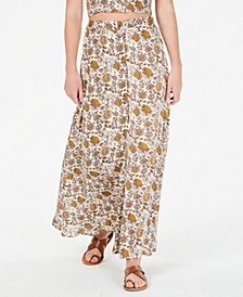 Floral-Print Button-Front Maxi Skirt