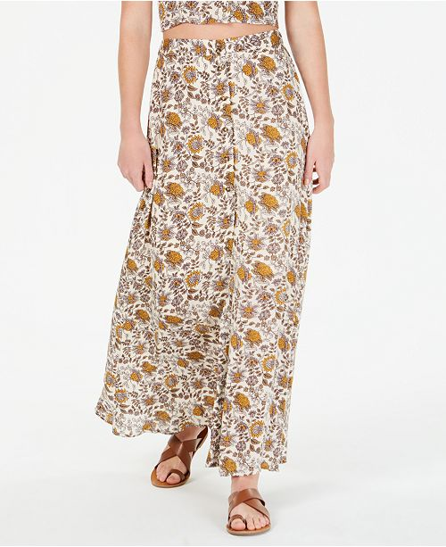 Gypsies & Moondust Floral-Print Button-Front Maxi Skirt