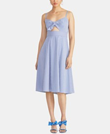 RACHEL Rachel Roy Luciana Seersucker Cutout Fit & Flare Dress