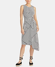 Zig Zag Striped Asymmetric Dress