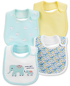 Carter's Baby Girls 4-Pack Printed Cotton Bibs