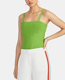 RACHEL Rachel Roy Matina Square-Neck Sleeveless Sweater Top