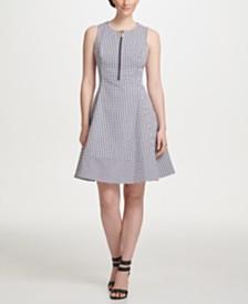 DKNY Sleeveless Logo Zipper Cotton Fit & Flare Dress