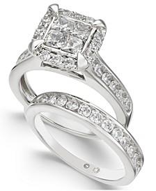 Diamond Quad Cluster Bridal Set (2 ct. t.w.) in 14k White Gold