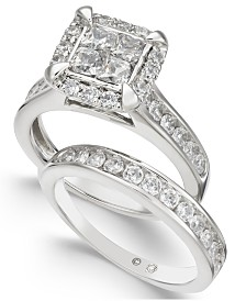Diamond Quad Cluster Bridal Set (2 ct. t.w.) in 14k White Gold