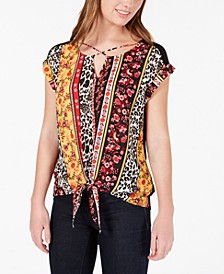 Juniors' Mixed-Print Tie-Front Top