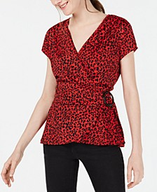 Juniors' Red Animal-Print Wrap Top