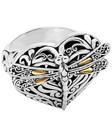 Sweet Dragonfly Love Potion Sterling Silver Ring Embellished by 18K Gold Accents on 4 Strips of Dragonfly's Wings