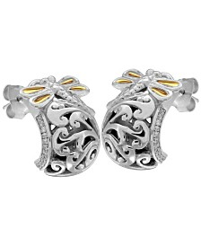 Sweet Dragonfly Classic Sterling Silver Ear Stud Embellished by 18K Gold Accents on 4 Strips of Dragonfly's Wings and White Cubic Zirconia