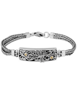 Sweet Dragonfly Classic Sterling Silver Bracelet with Dragon Bone Chain Embellished by 18K Gold