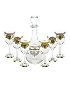 7 Piece Wine Set With Gold Artwork