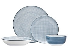 Varick Blue 16-PC Dinnerware Set, Service for 4