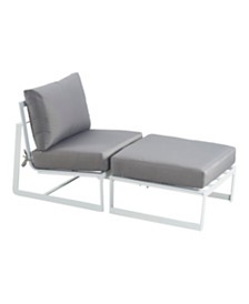 Elle Decor Mirabelle Grey Outdoor Armless Chaise Lounge Chair, Quick Ship