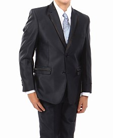 Solid Texture With Black Satin Trim 2 Button Front Closure Boys Suit, 4 Piece