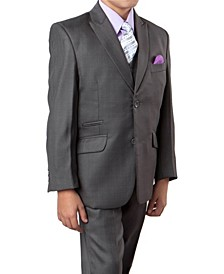Solid Slanted Pocket 2 Button Front Closure Boys Suit 5 Piece