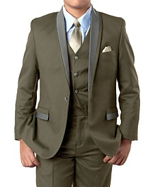 Solid Satin Shawl Collar 1 Button Vested Boys Suit, 5 Piece