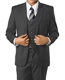 Solid 2 Button Front Closure Boys Suit, 3 Piece