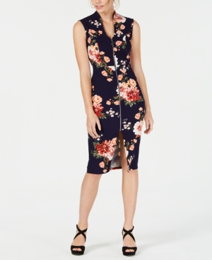 Almost Famous Juniors' Zip-Front Dress In Navy/Red Floral
