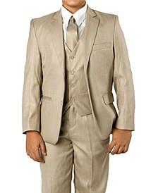 Solid 2 Button Front Closure Boys Suit, 5 Piece
