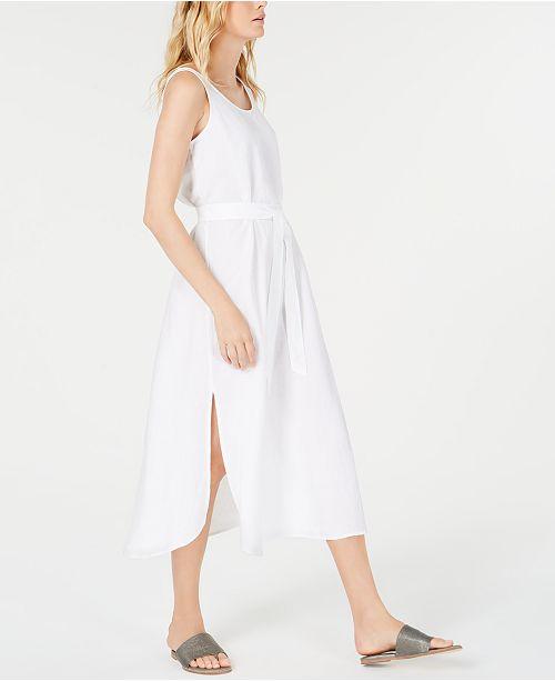Eileen Fisher Linen Tencel Belted Tank Dress