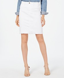 Jen7 by 7 For All Mankind Frayed-Hem Denim Skirt