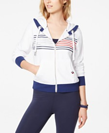Tommy Hilfiger Sport Striped Zip-Up Hoodie Sweatshirt