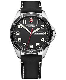 Men's FieldForce Black Leather Strap Watch 42mm