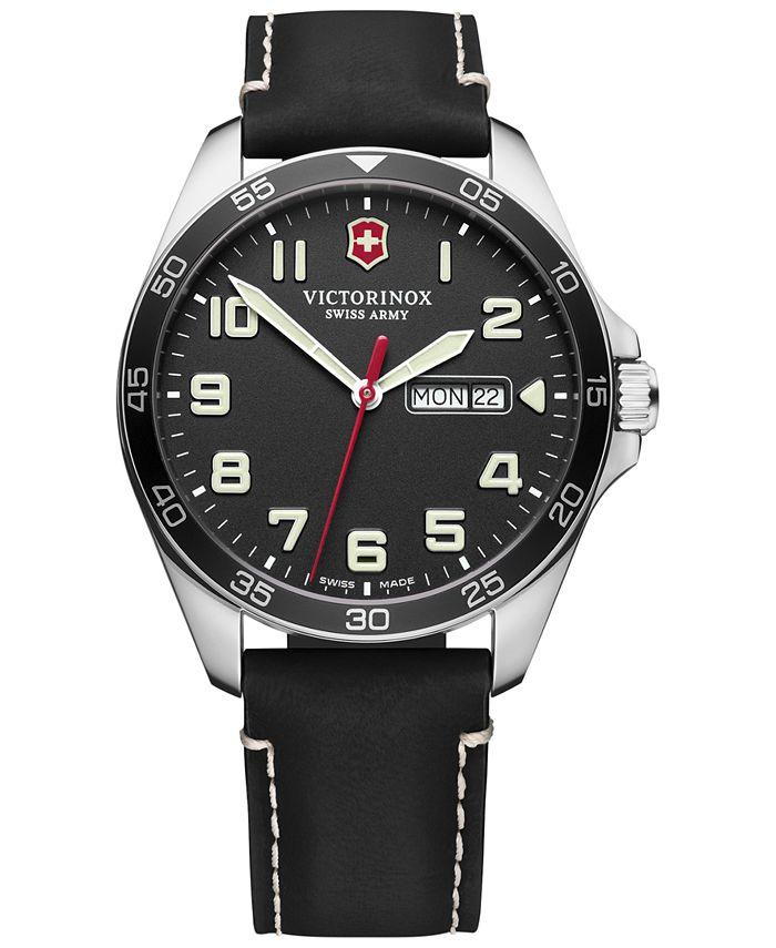 Victorinox Swiss Army - Men's FieldForce Black Leather Strap Watch 42mm