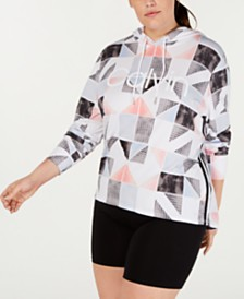 Calvin Klein Performance Plus Size Patchwork-Print Hoodie