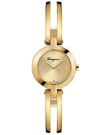 Ferragamo Women's Swiss Miniature Gold-Tone Stainless Steel Bracelet Watch 26mm