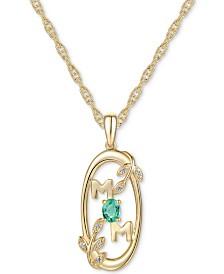 "Emerald (1/6 ct. t.w.) & Diamond Accent Mom 18"" Pendant Necklace in 14k Gold"