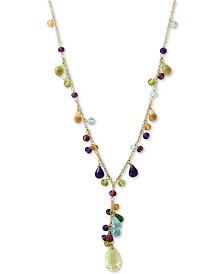 "EFFY® Multi-Gemstone (29-3/4 ct. t.w.) Station 18"" Pendant Necklace in 14k Gold"