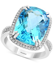 EFFY® Blue Topaz (12-1/3 ct. t.w.) & Diamond (1/4 ct. t.w.) in 14k White Gold