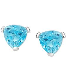 Blue Topaz Trillion Stud Earrings in 14k White Gold