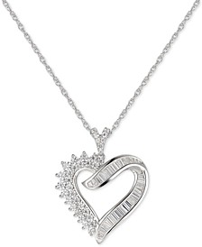 """Cubic Zirconia Heart 18"""" Pendant Necklace in Sterling Silver"""
