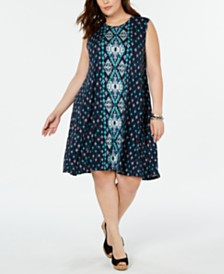 Style & Co Plus Size Printed Sleeveless Swing Dress, Created for Macy's
